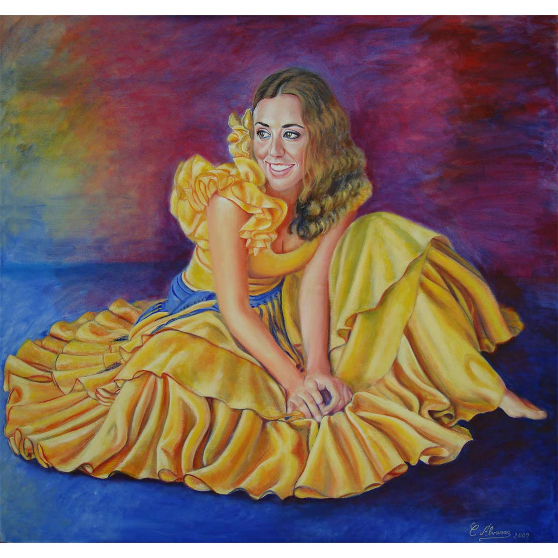 YELLOW FLOWER Oil on canvas 70 x 73 cm