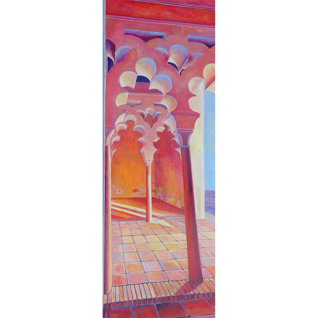 ARCOS POLILOBULADOS AL ATARDECER Acrílico sobre tabla 191 x 65 cm