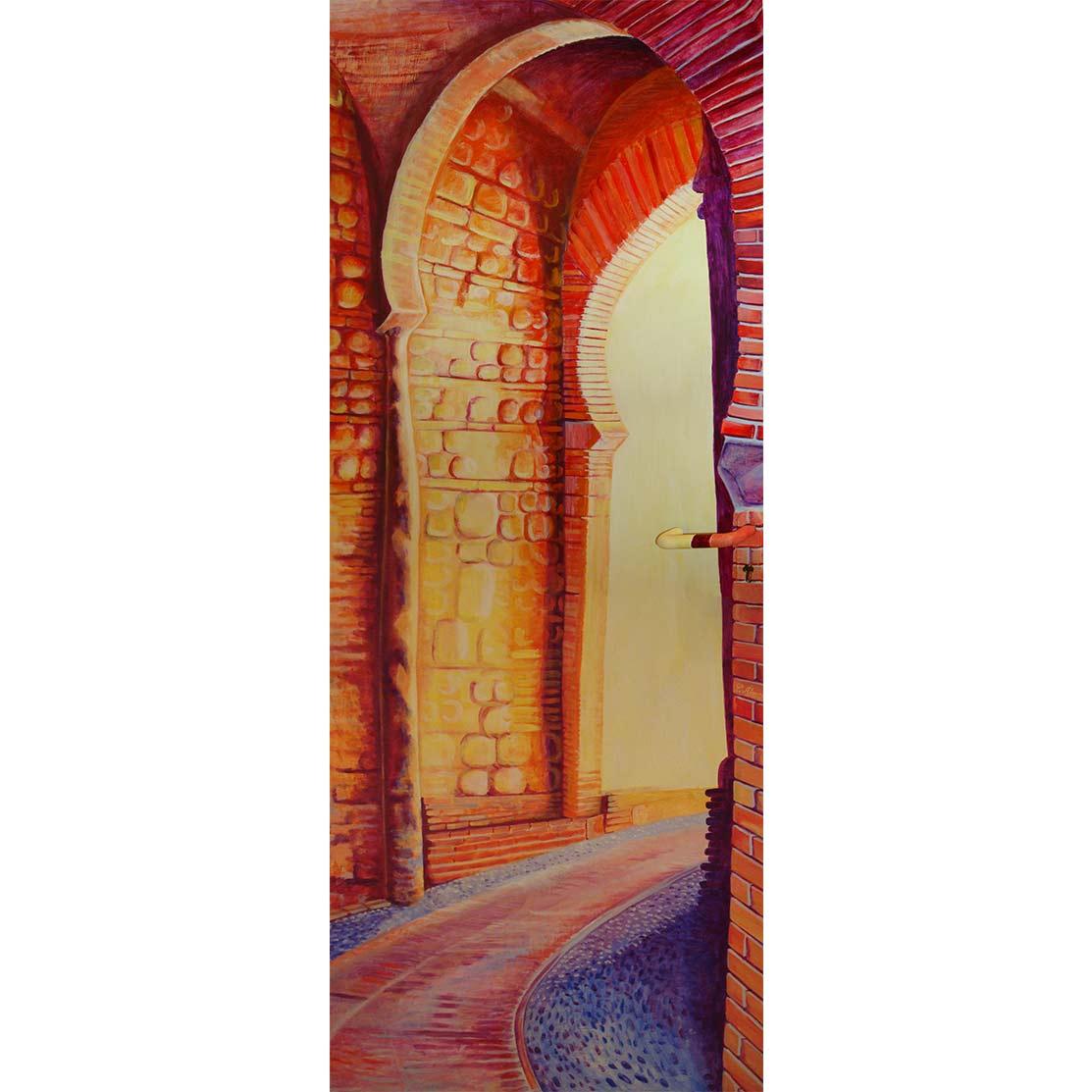ATRAVESANDO LA PUERTA EN RECODO Acrílico sobre puerta de metal 205 x 85 cm