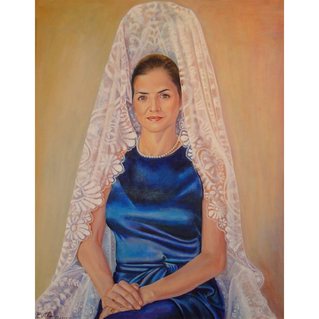 SELFPORTRAIT WITH MANTILLA Oil on canvas 81 x 65 cm