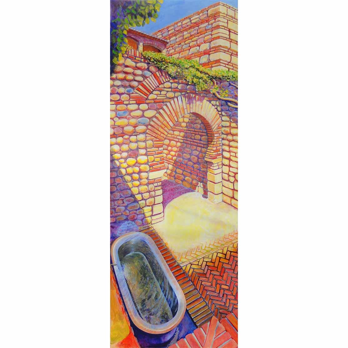 BAJANDO A LA BAÑERA-FUENTE Acrílico sobre tabla 195 x 70 cm