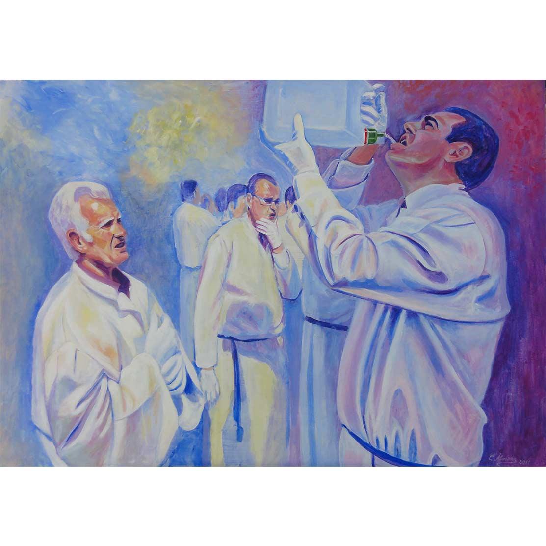 DRINKING WATER Acrylic on panel 65 x 90 cm