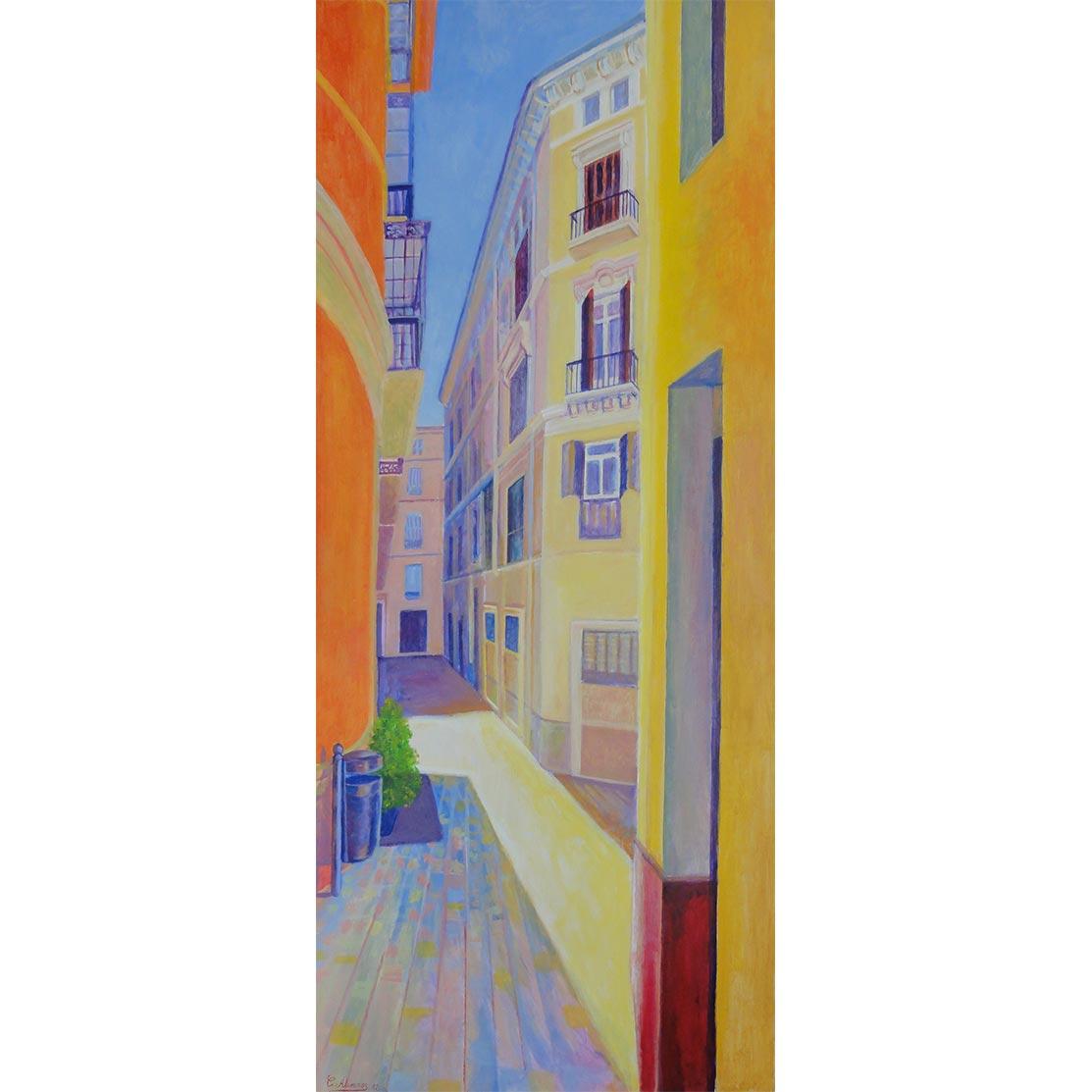 CALLE DE NICASIO Acrílico sobre tabla 122 x 51 cm