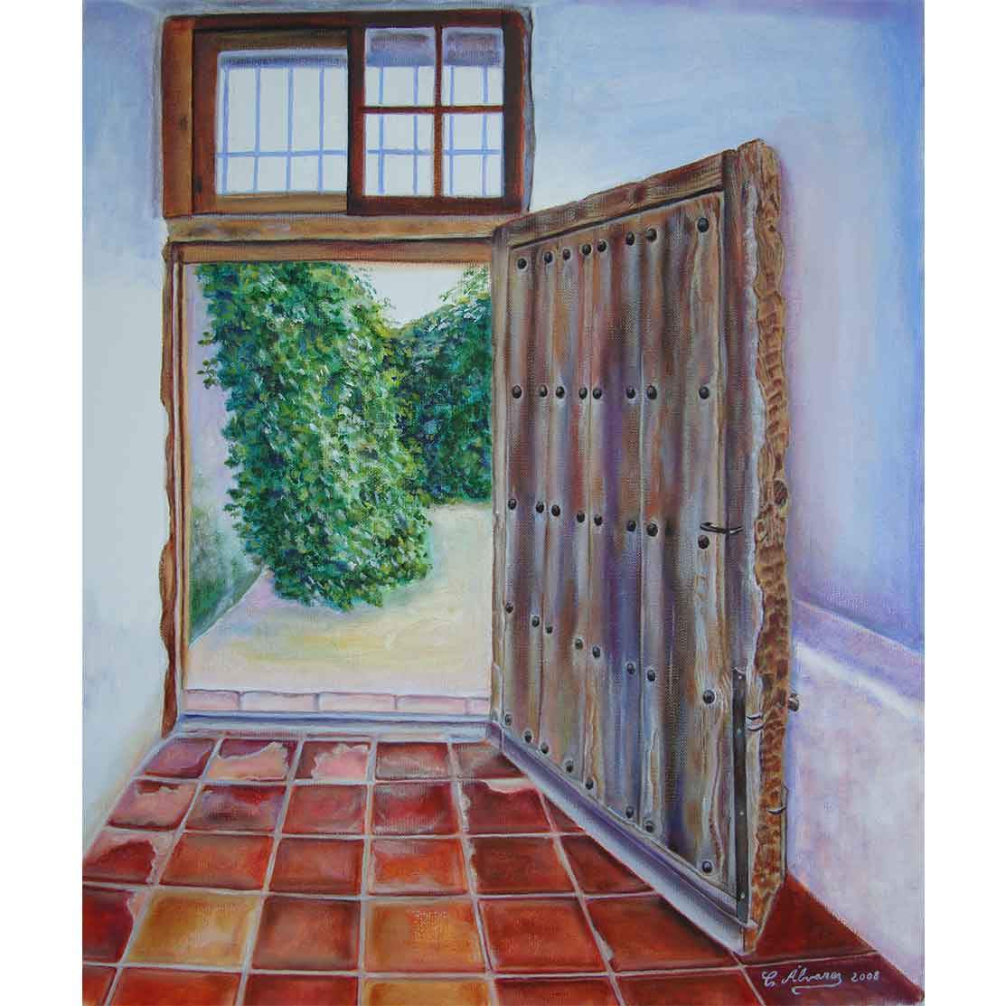 OPEN HOUSE THE BACK ENTRANCE Oil on canvas 55 x 46 cm