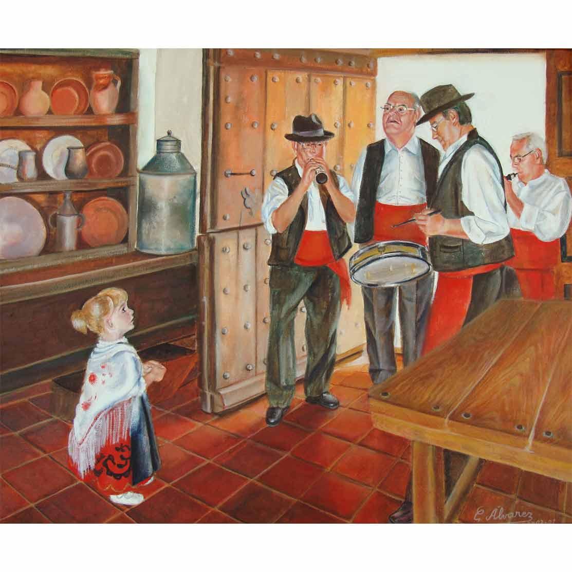 DAFNE Y LOS MÚSICOS Óleo sobre lienzo 61 x 50 cm