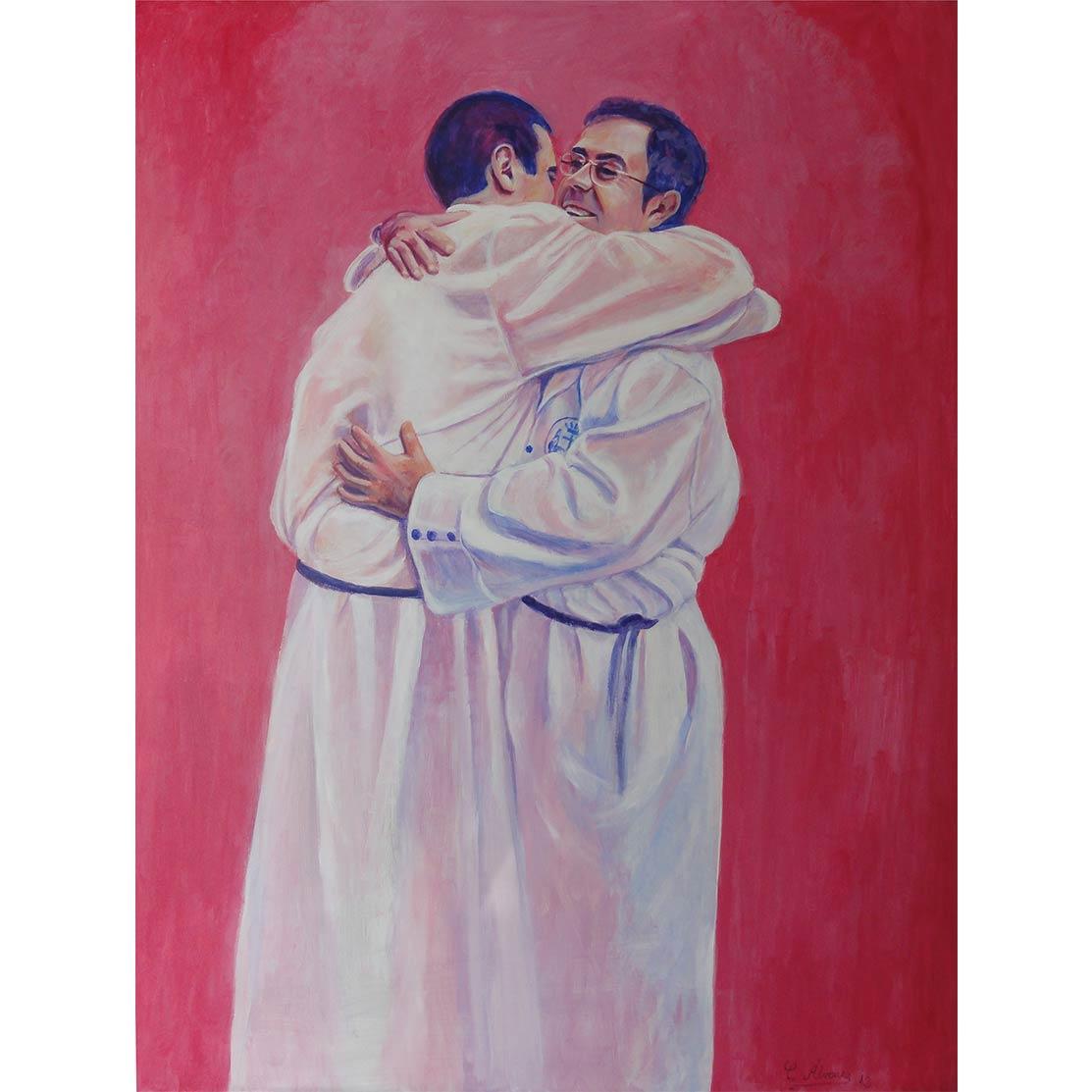 BROTHERHOOD HUG Acrylic on panel 80 x 60 cm