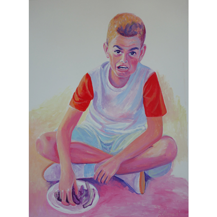 BOY WHO EATS RIBS Sketch in acrylic on paper 70 x 50 cm