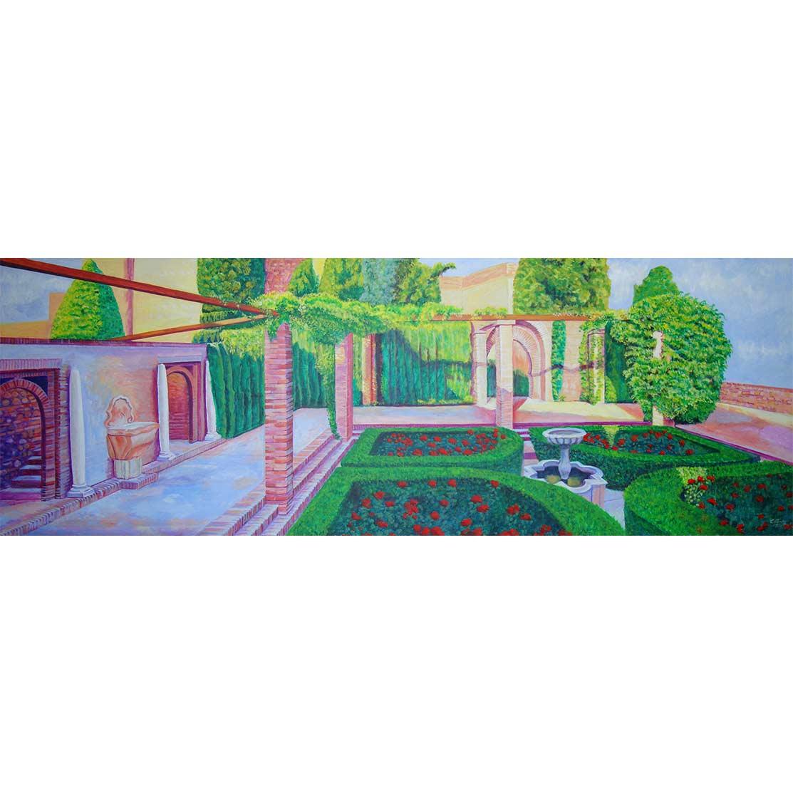 EL DIÁLOGO DE LAS DOS FUENTES Acrílico sobre tabla 200 x 70 cm