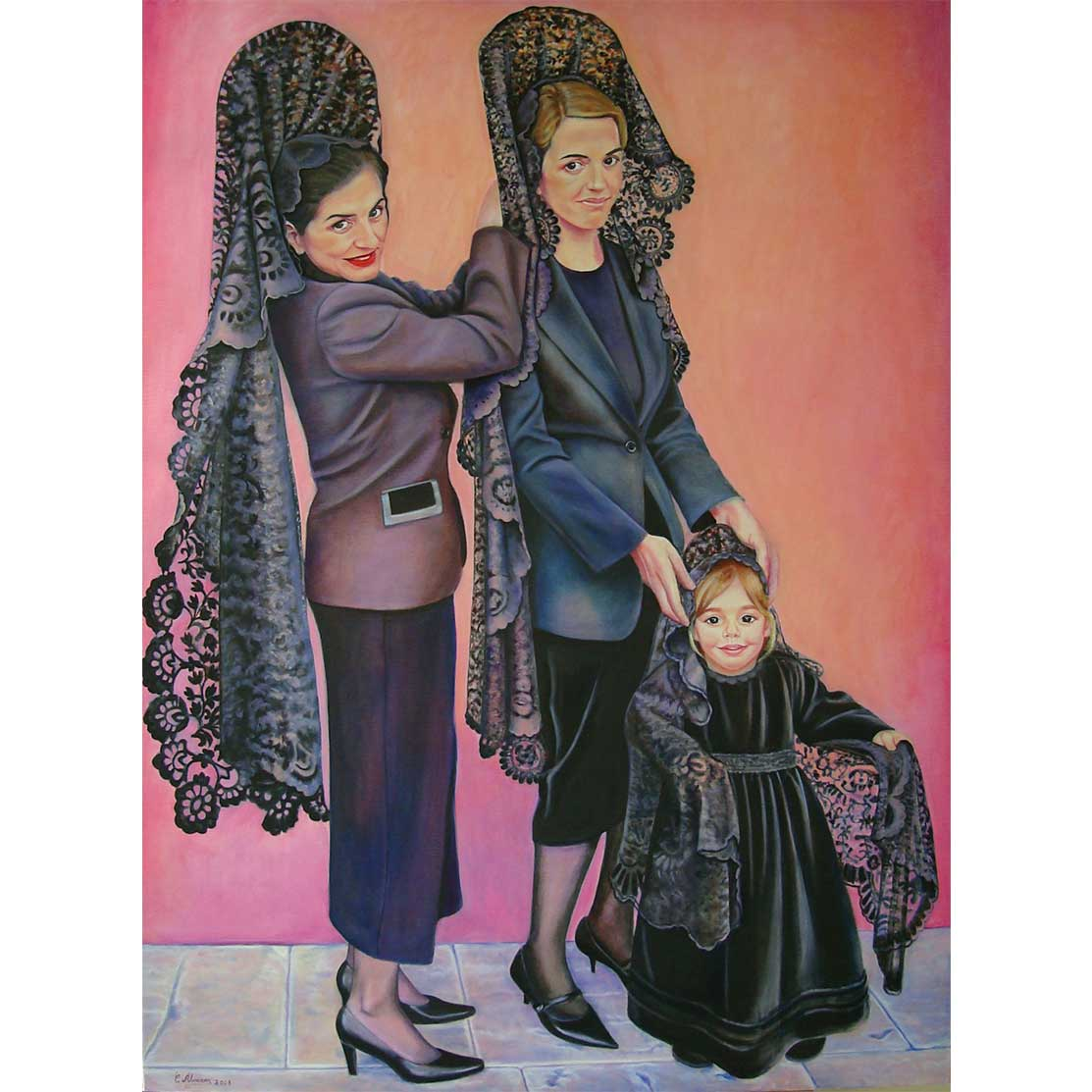 THE THREE MANOLAS Oil on canvas 130 x 97 cm