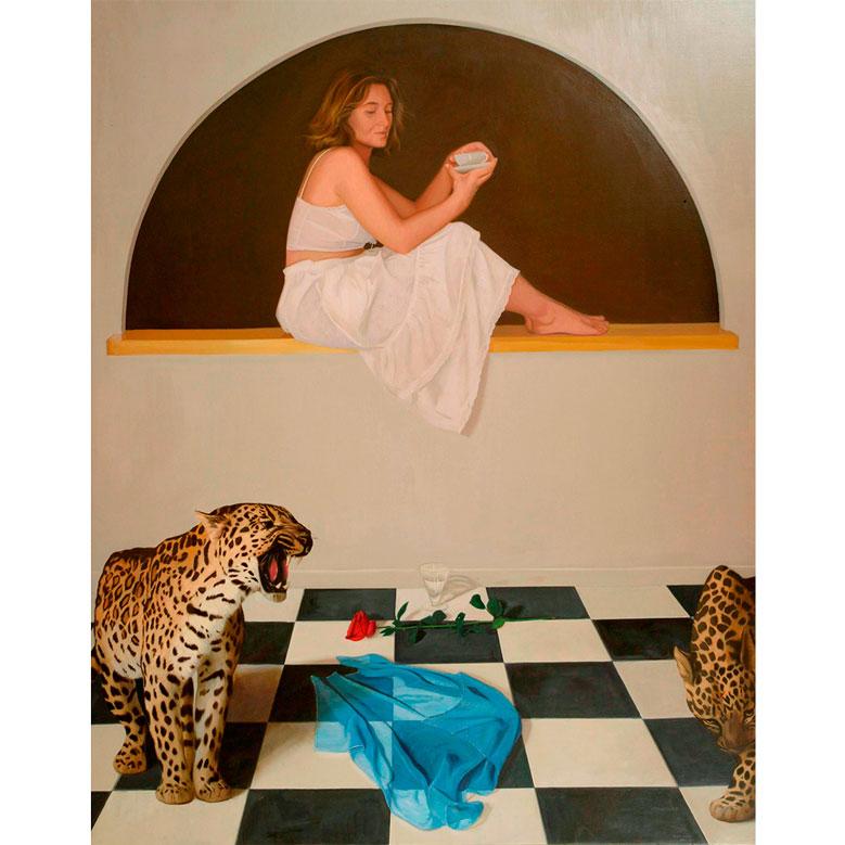 LEDA CON LEOPARDOS Óleo sobre tabla 162 x 130 cm