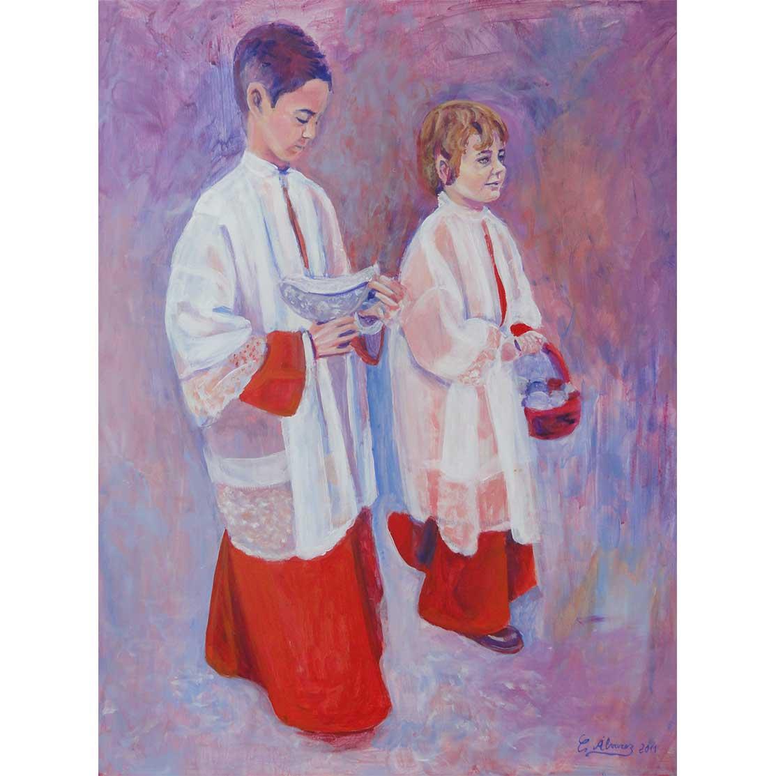 ALTAR BOYS Acrylic on panel 50 x 40 cm