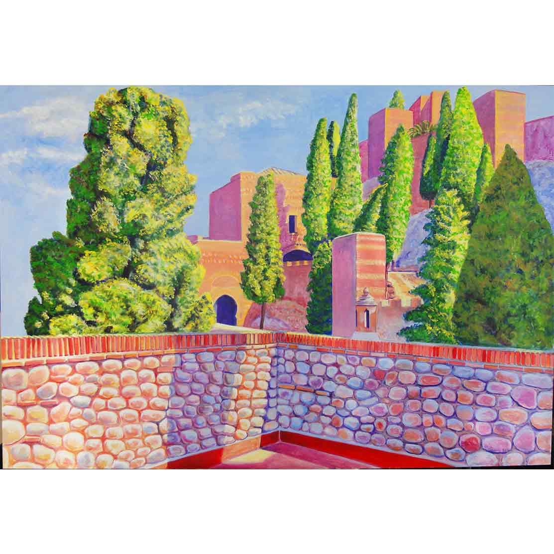 MIRADOR DE LA ALCAZABA Acrílico sobre tabla 95 x 138 cm
