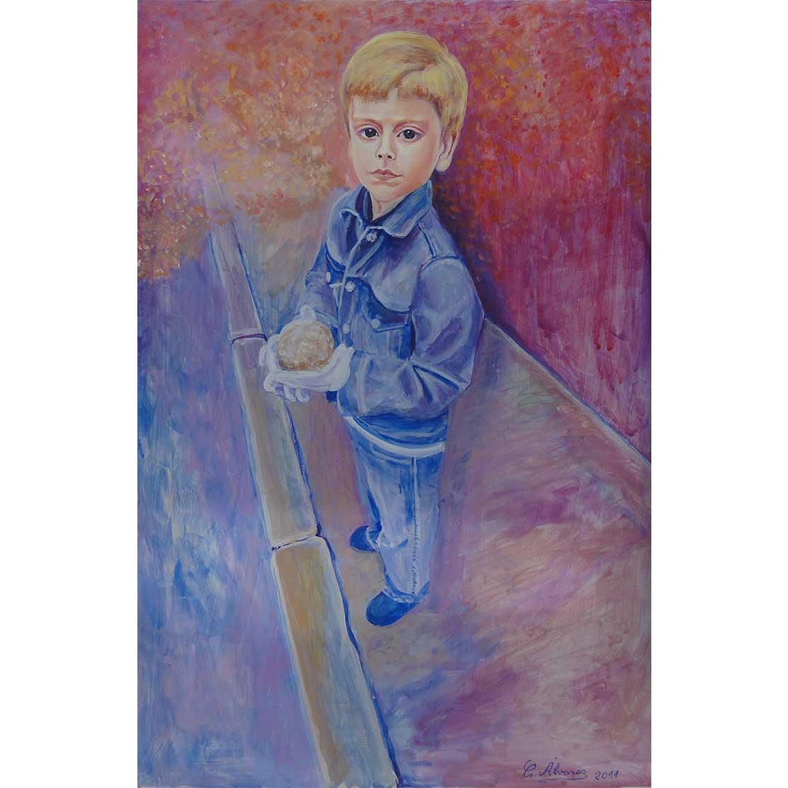 PROUD OF HIS WAX BALL Acrylic on panel 60 x 40 cm