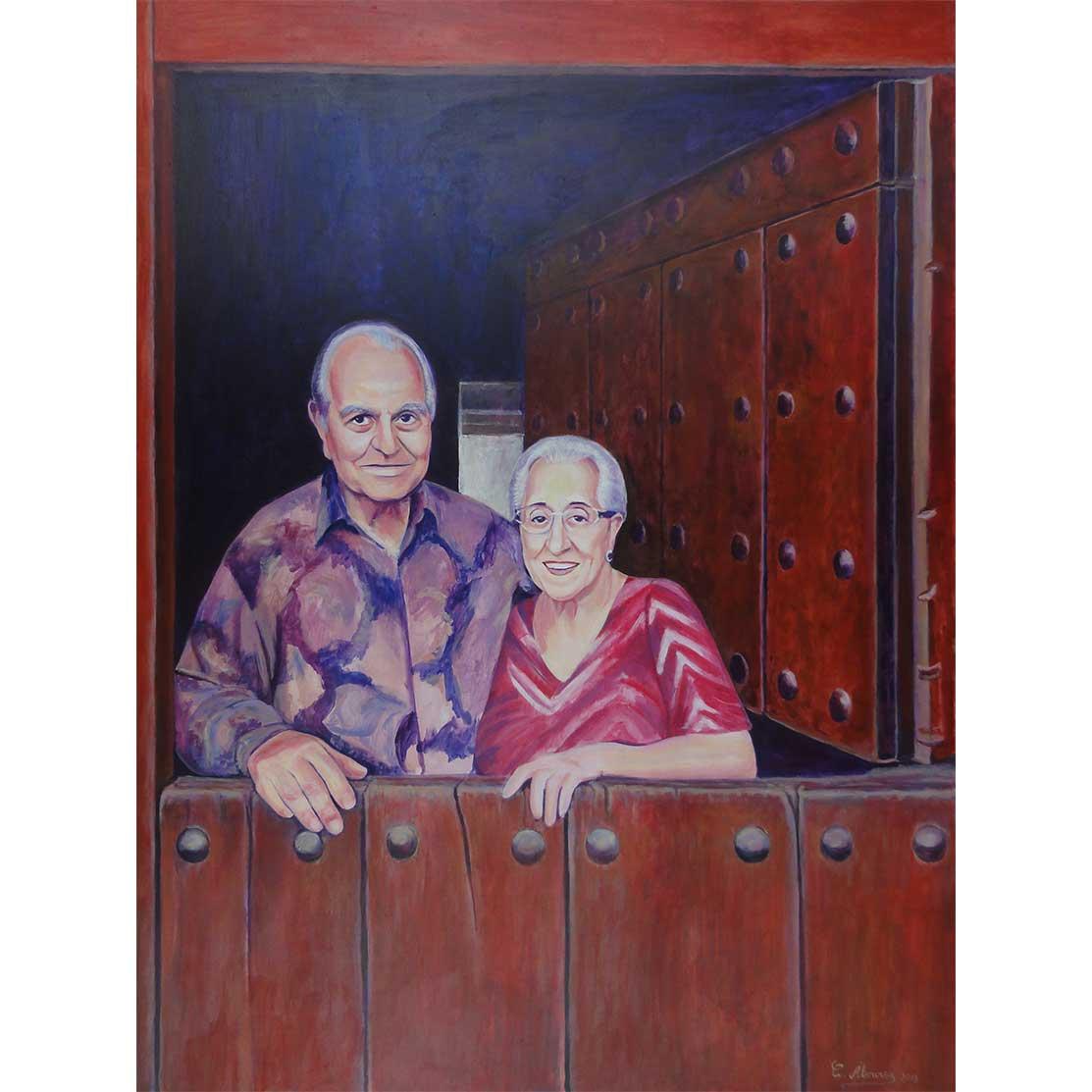 PAPÁ Y MAMÁ Acrílico sobre tabla 100 x 75 cm
