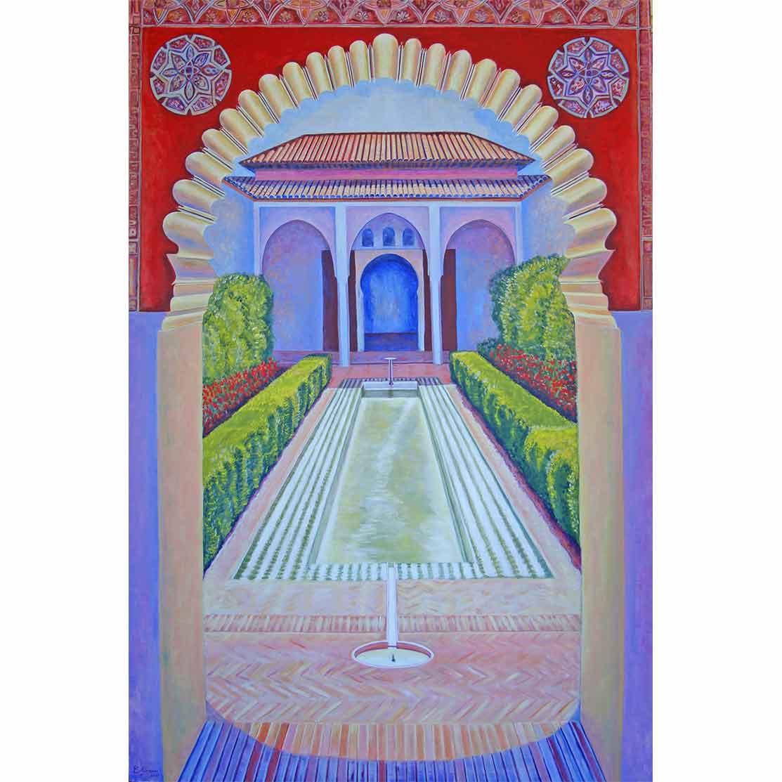 PATIO DE LA ALBERCA Acrílico sobre tabla 200 x 134 cm
