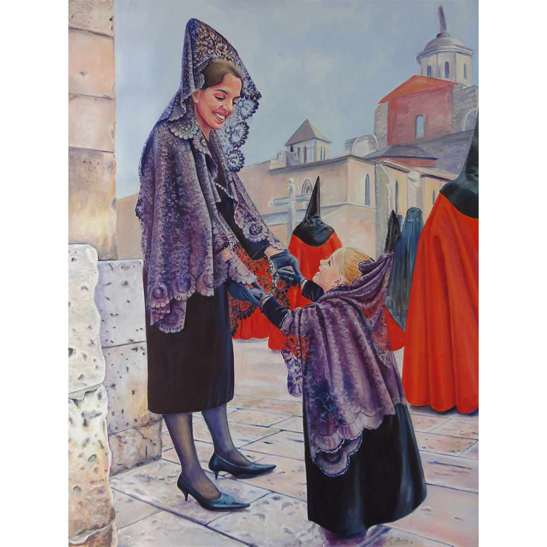 RECEIVING THE MAMY´S STRENGTH Oil on canvas 130 x 97 cm