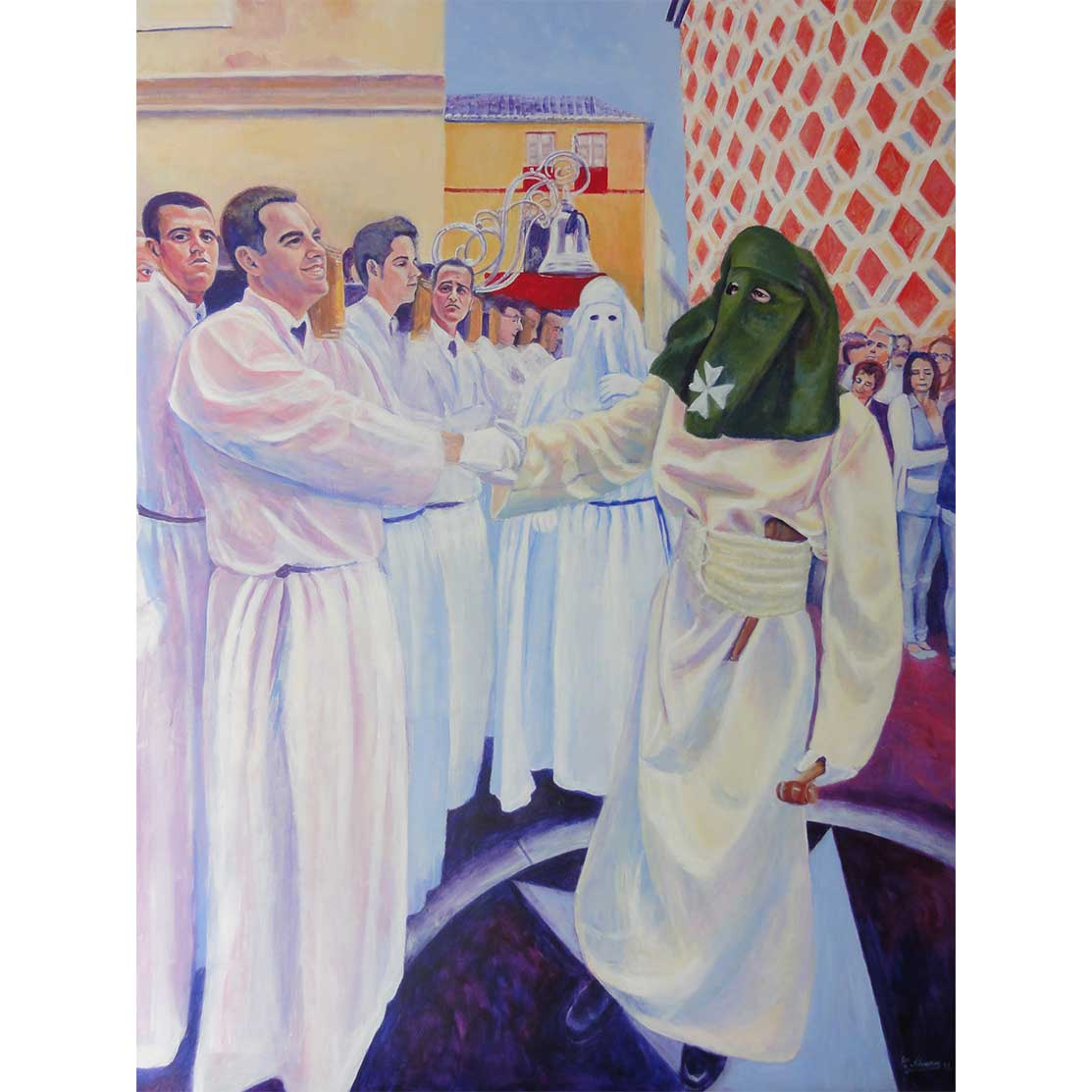 RECEPTION OF BANDERAS Acrylic on panel 100 x 75 cm