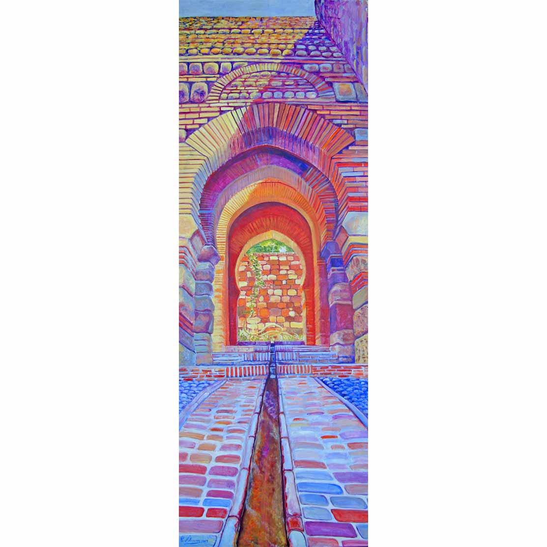 SUBIDA A LA TORRE Acrílico sobre tabla 200 x 70 cm