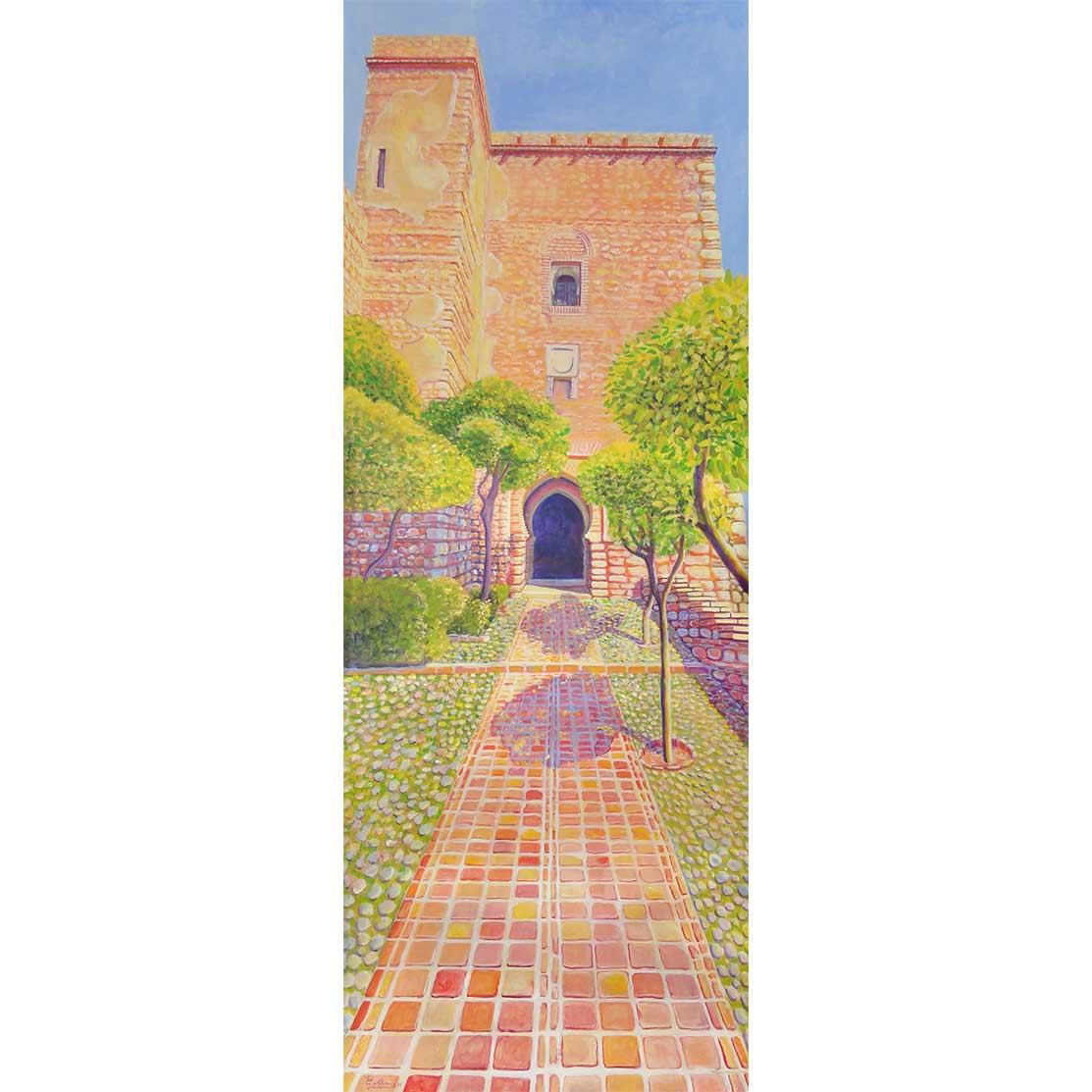 SUBIDA A LA TORRE DEL CRISTO Acrílico sobre tabla 195 x 70 cm