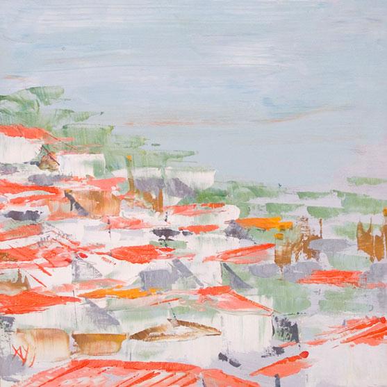 CASAS BLANCAS DE LA ISLA DE HYDRA II Acrílico sobre tabla 20 x 20 cm