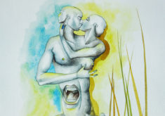 THE-KISS-ERIC-AMAN-ARTIST-2017-WATERCOLOR-ON-PAPER-15,7¨X-11,8¨